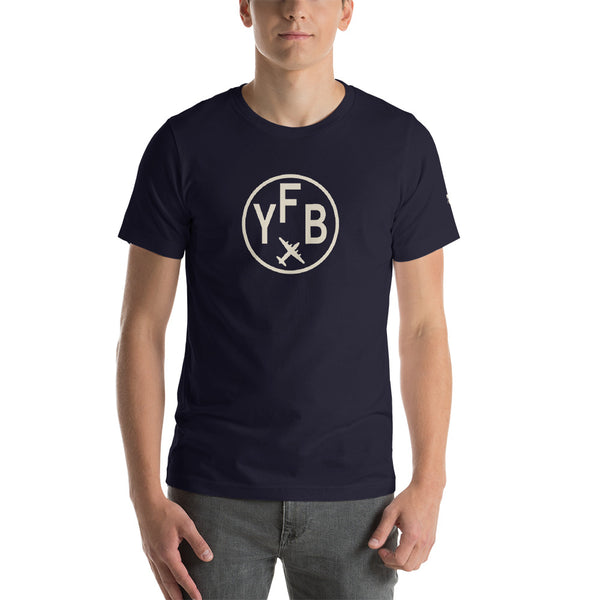 YHM Designs - YFB Iqaluit T-Shirt - Airport Code and Vintage Roundel Design - Adult - Navy Blue - Birthday Gift