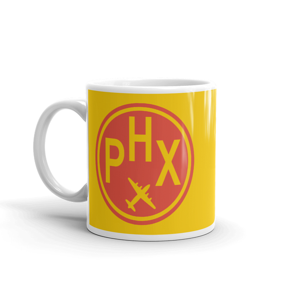 YHM Designs - PHX Phoenix Airport Code Vintage Roundel Coffee Mug - Birthday Gift, Christmas Gift - Red and Yellow - Left