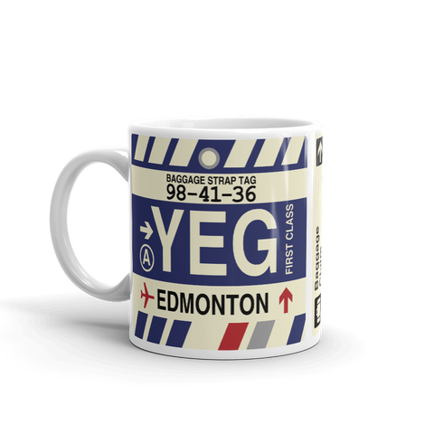 YHM Designs - YEG Edmonton Airport Code Coffee Mug - Birthday Gift, Christmas Gift - Left