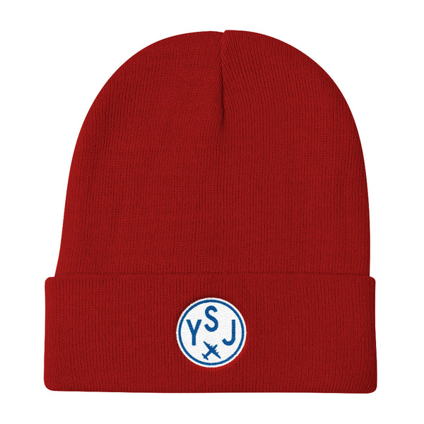YHM Designs - YSJ Saint John Vintage Roundel Airport Code Winter Hat - Red - Travel Gift - Student Gift