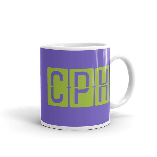 YHM Designs - CPH Copenhagen Airport Code Split-Flap Display Coffee Mug - Graduation Gift, Housewarming Gift - Green and Purple - Right