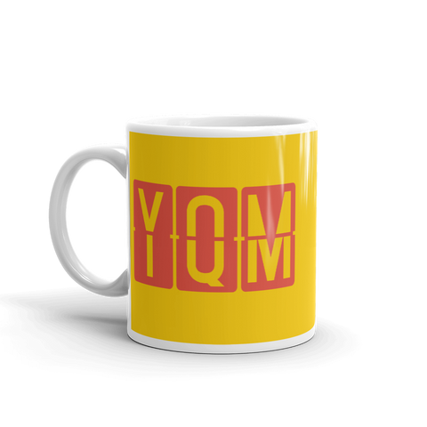 YHM Designs - YQM Moncton, New Brunswick Airport Code Coffee Mug - Birthday Gift, Christmas Gift - Red and Yellow - Left