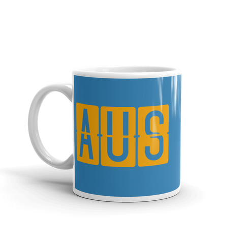 YHM Designs - AUS Austin Airport Code Split-Flap Display Coffee Mug - Birthday Gift, Christmas Gift - Orange and Blue - Left