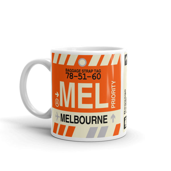 YHM Designs - MEL Melbourne, Australia Airport Code Coffee Mug - Birthday Gift, Christmas Gift - Left