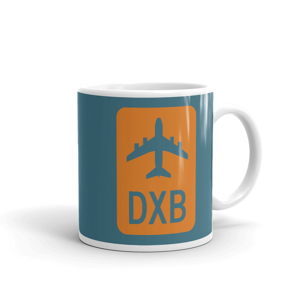 YHM Designs - DXB Dubai Airport Code Jetliner Coffee Mug - Graduation Gift, Housewarming Gift - Orange and Teal - Right