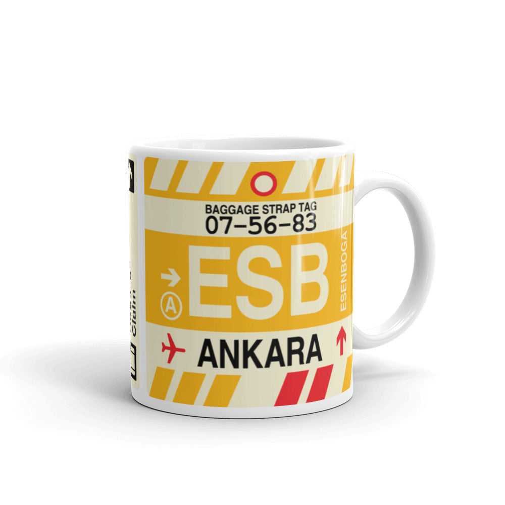 YHM Designs - ESB Ankara Airport Code Coffee Mug - Graduation Gift, Housewarming Gift - Right