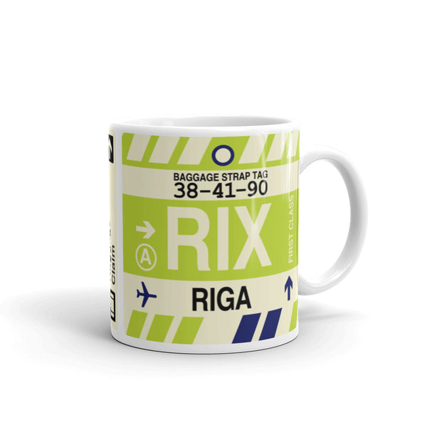 YHM Designs - RIX Riga, Latvia Airport Code Coffee Mug - Graduation Gift, Housewarming Gift - Right