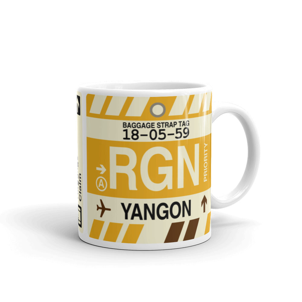 YHM Designs - RGN Yangon, Myanmar (Burma) Airport Code Coffee Mug - Graduation Gift, Housewarming Gift - Right