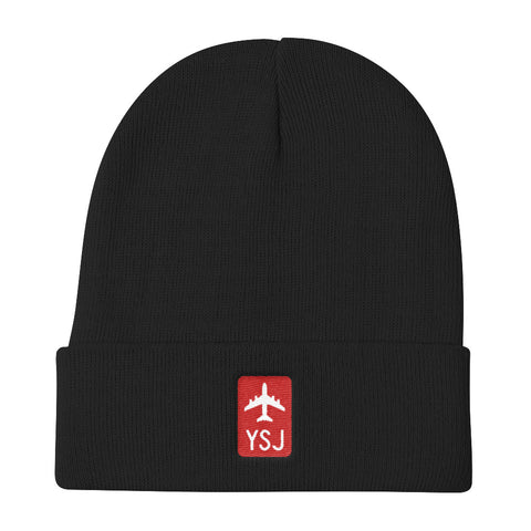 YHM Designs - YSJ Saint John Retro Jetliner Airport Code Winter Hat - Black - Christmas Gift