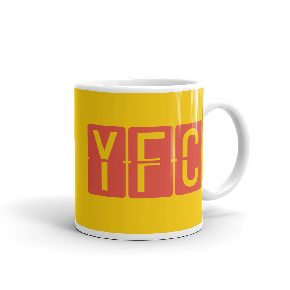 YHM Designs - YFC Fredericton, New Brunswick Airport Code Coffee Mug - Graduation Gift, Housewarming Gift - Red and Yellow - Right
