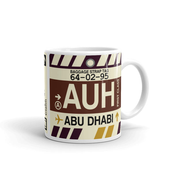 YHM Designs - AUH Abu Dhabi, United Arab Emirates Airport Code Coffee Mug - Graduation Gift, Housewarming Gift - Right