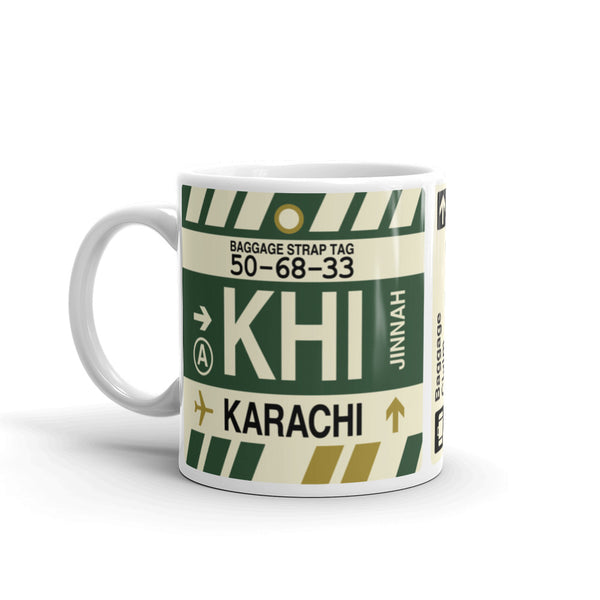 YHM Designs - KHI Karachi Airport Code Coffee Mug - Travel Theme Drinkware and Gift Ideas - Left