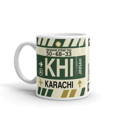 YHM Designs - KHI Karachi, Pakistan Airport Code Coffee Mug - Birthday Gift, Christmas Gift - Left