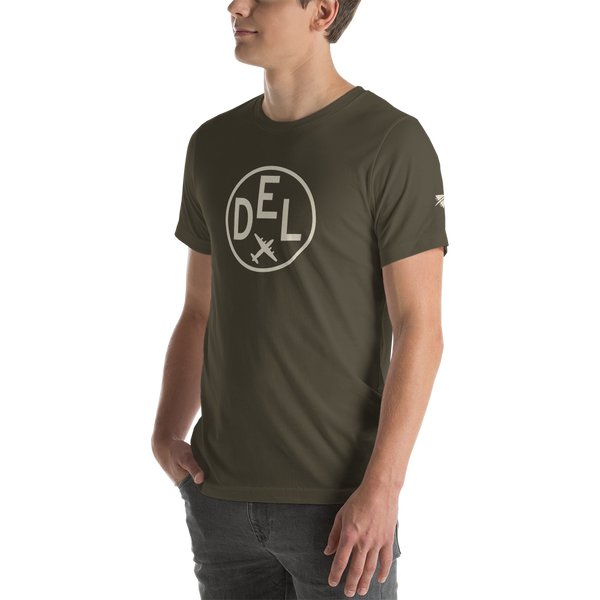 YHM Designs - DEL Delhi Airport Code T-Shirt - Adult - Army Brown - Gift for Dad or Husband