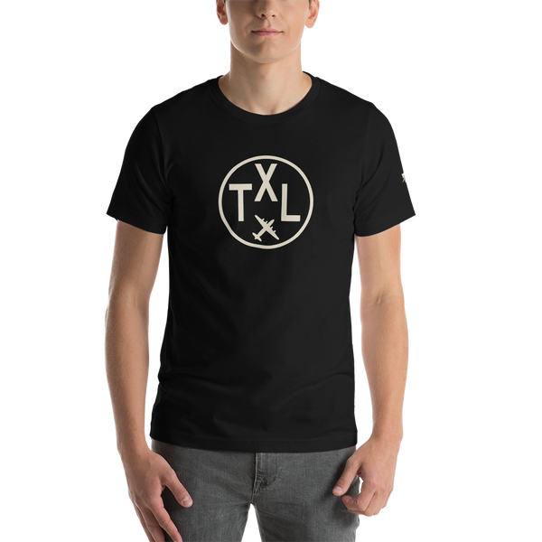 YHM Designs - TXL Berlin Airport Code T-Shirt - Adult - Black - Birthday Gift