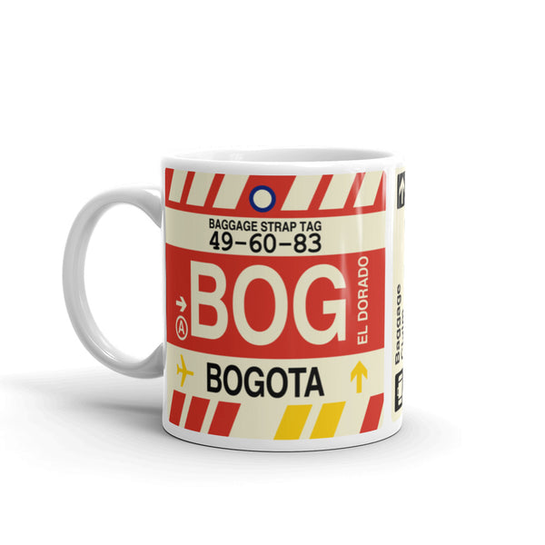 YHM Designs - BOG Bogota Airport Code Coffee Mug - Birthday Gift, Christmas Gift - Left