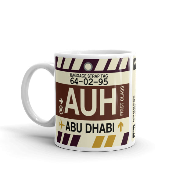 YHM Designs - AUH Abu Dhabi, United Arab Emirates Airport Code Coffee Mug - Birthday Gift, Christmas Gift - Left