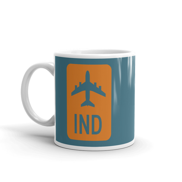 YHM Designs - IND Indianapolis Airport Code Jetliner Coffee Mug - Birthday Gift, Christmas Gift - Orange and Teal - Left