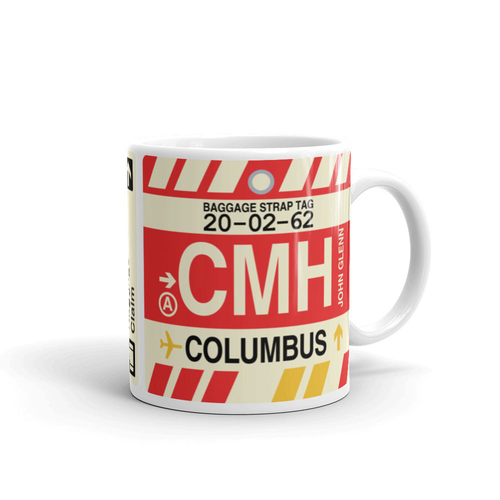 YHM Designs - CMH Columbus, Ohio Airport Code Coffee Mug - Graduation Gift, Housewarming Gift - Right