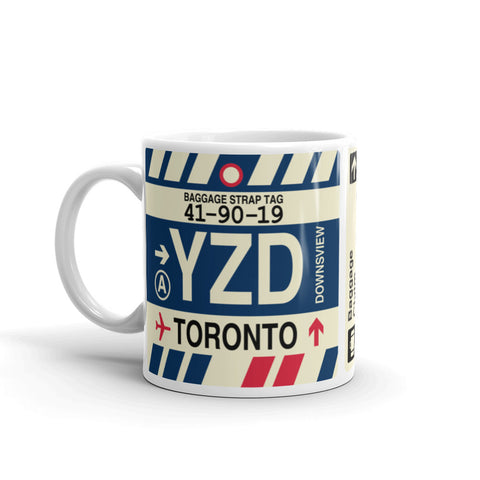 YHM Designs - YZD Toronto Airport Code Coffee Mug - Birthday Gift, Christmas Gift - Left