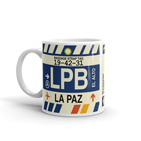YHM Designs - LPB La Paz, Bolivia Airport Code Coffee Mug - Birthday Gift, Christmas Gift - Left