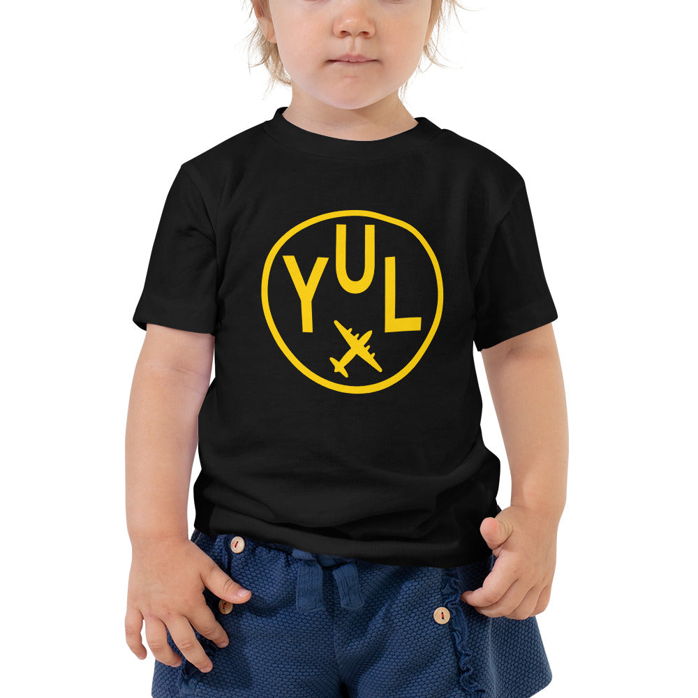 YHM Designs - YUL Montreal T-Shirt - Airport Code and Vintage Roundel Design - Toddler - Black - Gift for Grandchild or Grandchildren