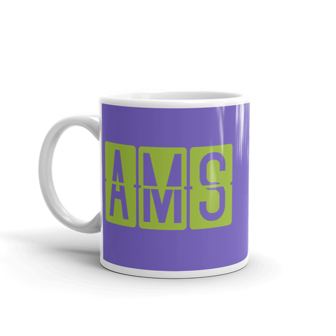 YHM Designs - AMS Amsterdam Airport Code Split-Flap Display Coffee Mug - Birthday Gift, Christmas Gift - Green and Purple - Left