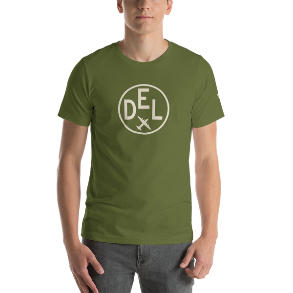 YHM Designs - DEL Delhi Airport Code T-Shirt - Adult - Olive Green - Birthday Gift
