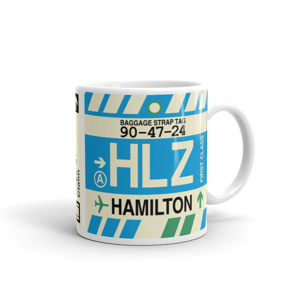 YHM Designs - HLZ Hamilton, New Zealand Airport Code Coffee Mug - Graduation Gift, Housewarming Gift - Right