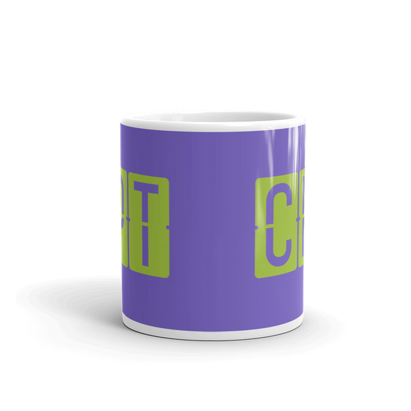 YHM Designs - CPT Cape Town Airport Code Split-Flap Display Coffee Mug - Teacher Gift, Airbnb Decor - Green and Purple - Side