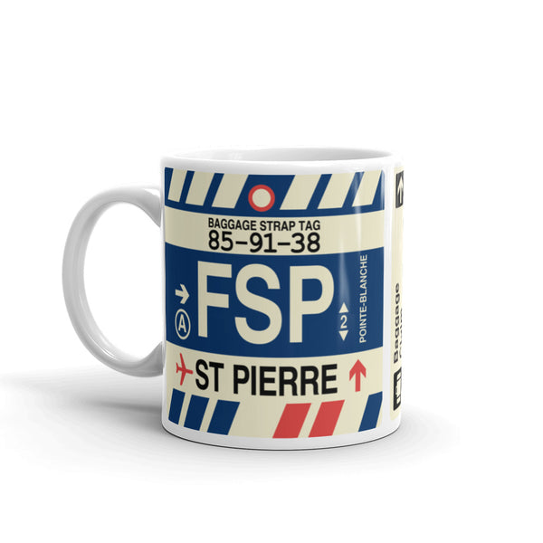 YHM Designs - FSP St-Pierre, St-Pierre et Miquelon Airport Code Coffee Mug - Birthday Gift, Christmas Gift - Left