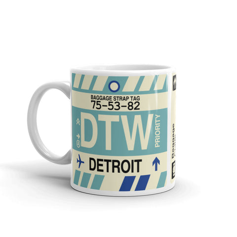 YHM Designs - DTW Detroit, Michigan Airport Code Coffee Mug - Birthday Gift, Christmas Gift - Left