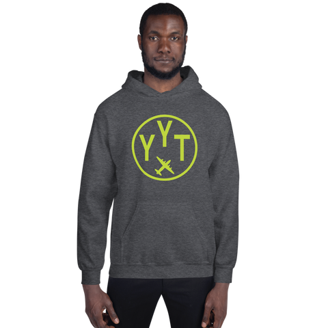 YHM Designs - YYT St. John's Airport Code Hoodie with Roundel Design - Dark Heather - Front