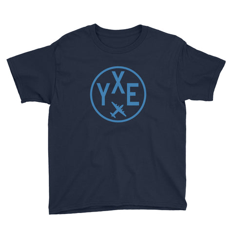 YHM Designs - YXE Saskatoon T-Shirt - Airport Code and Vintage Roundel Design - Youth - Navy Blue - Gift for Child or Children