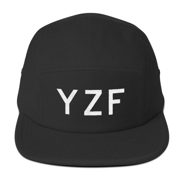 YHM Designs - YZF Yellowknife Airport Code Camper Hat - Black - Front - Student Gift