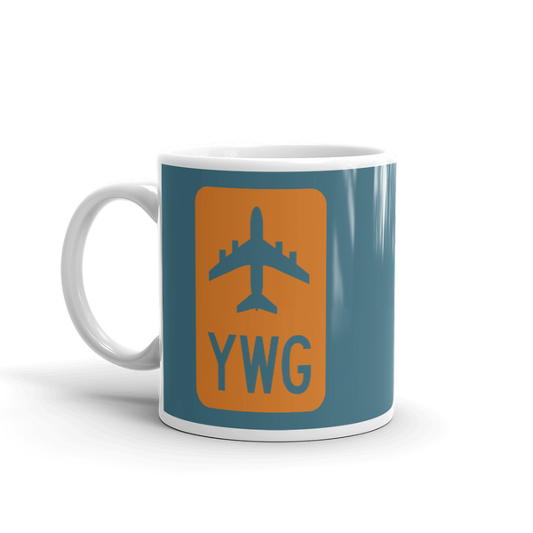 YHM Designs - YWG Winnipeg Airport Code Jetliner Coffee Mug - Birthday Gift, Christmas Gift - Orange and Teal - Left