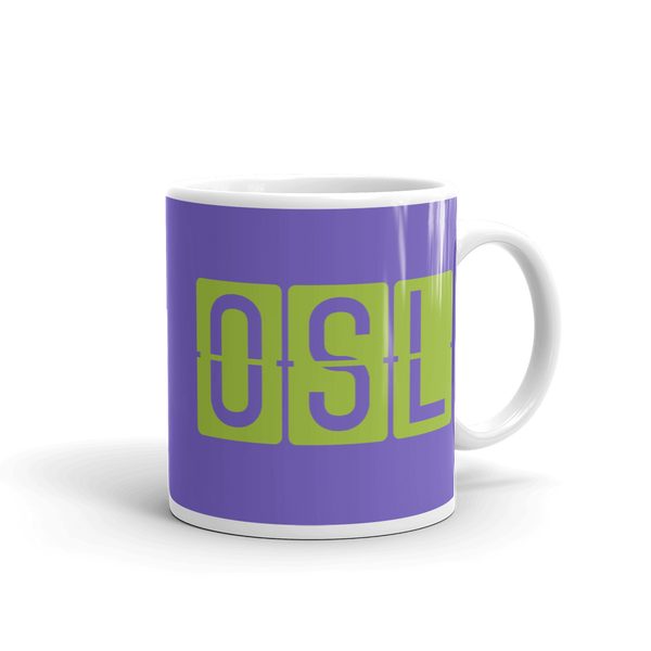 YHM Designs - OSL Oslo Airport Code Split-Flap Display Coffee Mug - Graduation Gift, Housewarming Gift - Green and Purple - Right