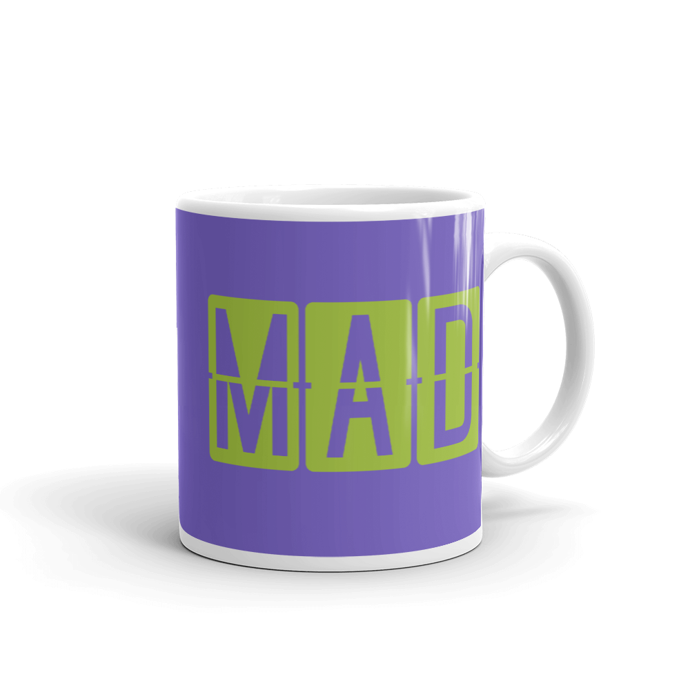 YHM Designs - MAD Madrid Airport Code Split-Flap Display Coffee Mug - Graduation Gift, Housewarming Gift - Green and Purple - Right