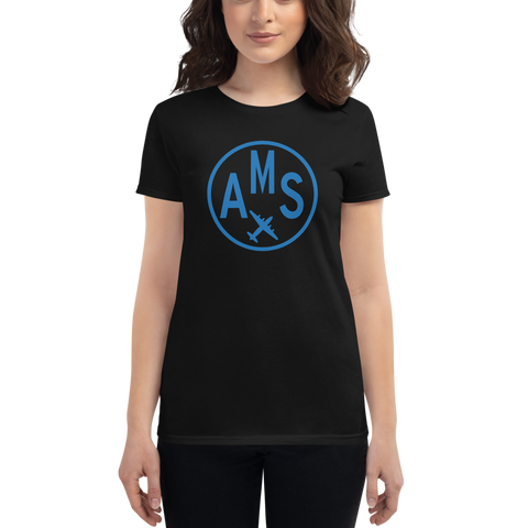 YHM Designs - AMS Amsterdam Airport Code T-Shirt - Women's - Birthday Gift