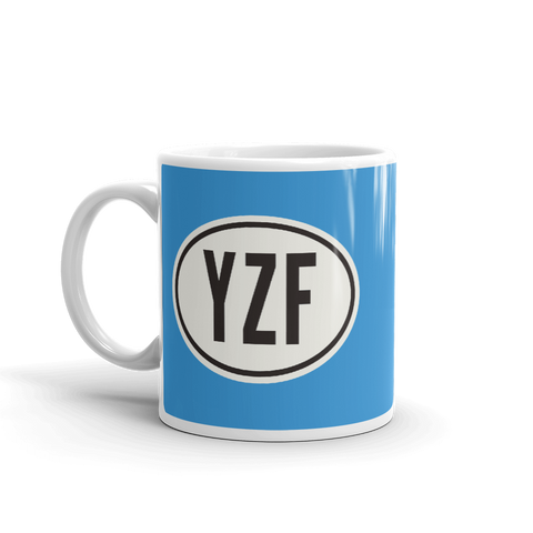 YHM Designs - YZF Yellowknife Airport Code Coffee Mug with Oval Car Sticker Design - Handle on Left