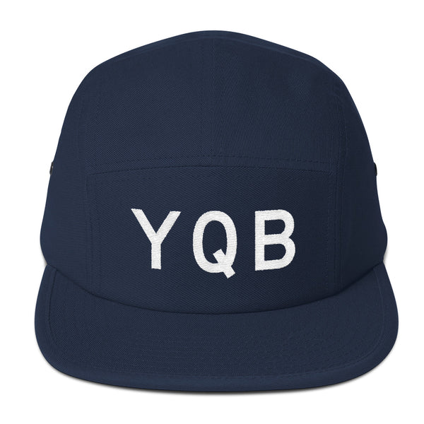 YHM Designs - YQB Quebec City Airport Code Camper Hat - Navy Blue - Front - Christmas Gift