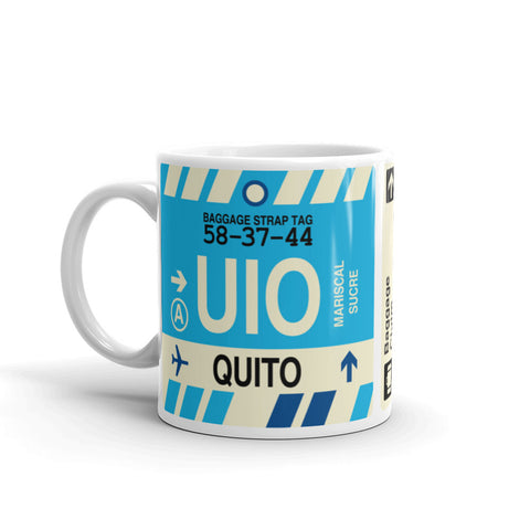 YHM Designs - UIO Quito, Ecuador Airport Code Coffee Mug - Birthday Gift, Christmas Gift - Left