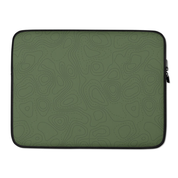 YHM Designs - Contour Map Laptop Sleeve • Mid-Green 3