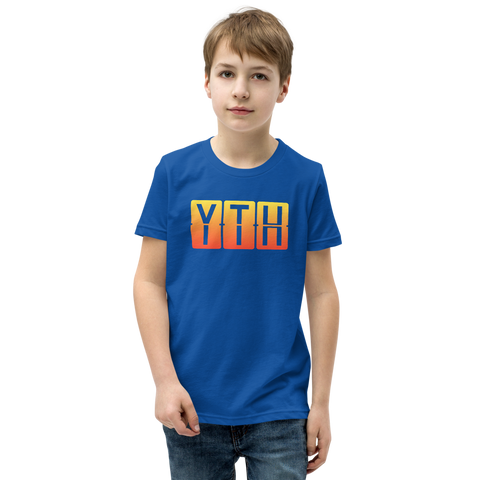 YHM Designs - YTH Thompson Airport Code T-Shirt - Split-Flap Display Design with Orange-Yellow Gradient Colours - Child Youth - Royal Blue 1