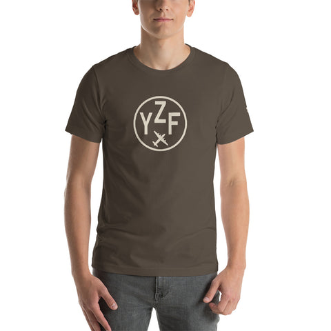 YHM Designs - YZF Yellowknife T-Shirt - Airport Code and Vintage Roundel Design - Adult - Army Brown - Birthday Gift