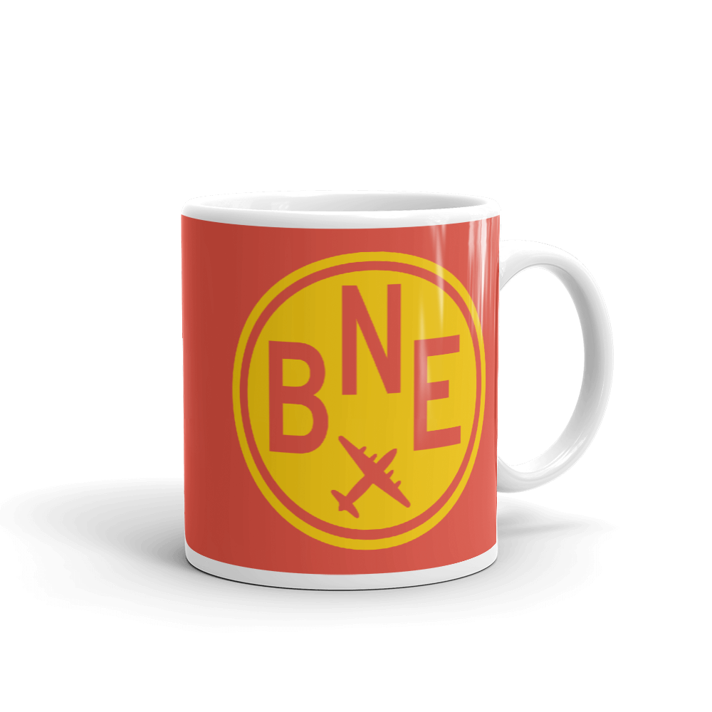 YHM Designs - BNE Brisbane Airport Code Vintage Roundel Coffee Mug - Graduation Gift, Housewarming Gift - Yellow and Red - Right