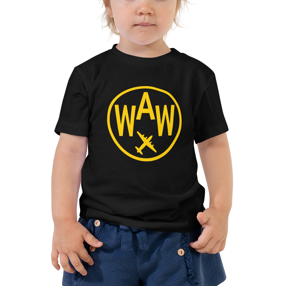 YHM Designs - WAW Warsaw Airport Code T-Shirt - Toddler Child - Boy's or Girl's Gift