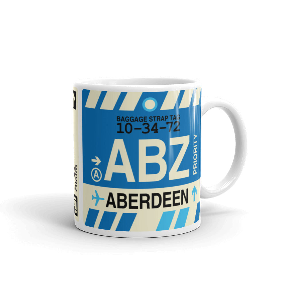 YHM Designs - ABZ Aberdeen Airport Code Coffee Mug - Graduation Gift, Housewarming Gift - Right