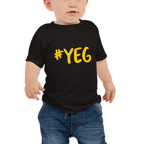 YHM Designs - YEG Edmonton Airport Code Hashtag Design T-Shirt - Baby Infant - Boy's or Girl's Gift