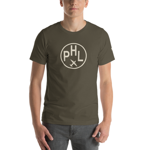 YHM Designs - PHL Philadelphia Airport Code T-Shirt - Adult - Army Brown - Birthday Gift